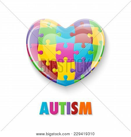World Autism Awareness Day. Colorful Glass Heart Made Of Puzzle Pieces. Symbol Of Autism. Vector Ill