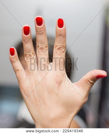 Manicure In A Beauty Salon . Photos In The Studio