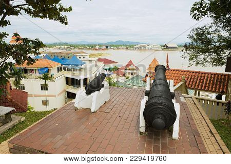Kuala Terengganu, Malaysia - September 01, 2009: View To The Harbor From The Princess Hill With Old