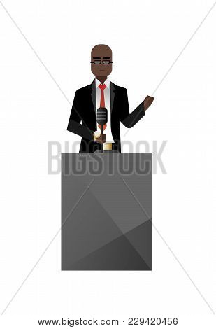 African Businessman In Glasses Speech On Tribune. Corporate Business People Isolated Vector Illustra