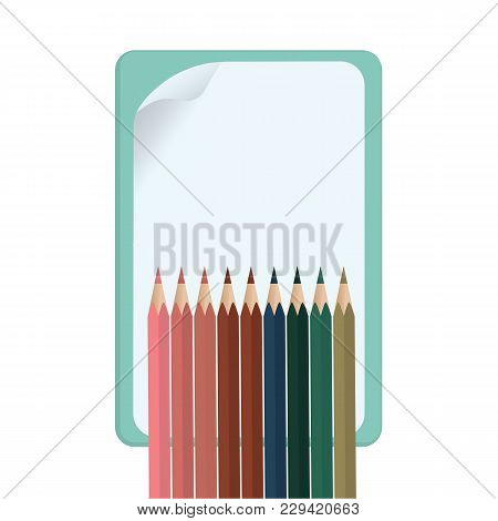 Sheet Of White Paper With A Curved Corner - Set Of Color Pencils - Isolated On White Background - Ve