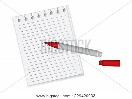 Notepad Sheets Of Paper Flushed - Felt-tip Pen Red, Opened - Isolated On White Background - Vector