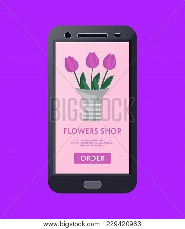 Online Flowers Shop Business Concept With Tulip Bouquet On Screen Of Tablet Computer. Interactive Cr
