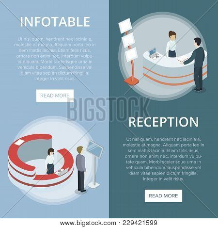Administration And Information Reception Desk Isometric Vertical Flyers. Company Exhibition Ad Stand