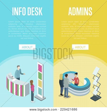 Administration And Information Desk Isometric Vertical Flyers. Company Exhibition Ad Stand, Hotel Or