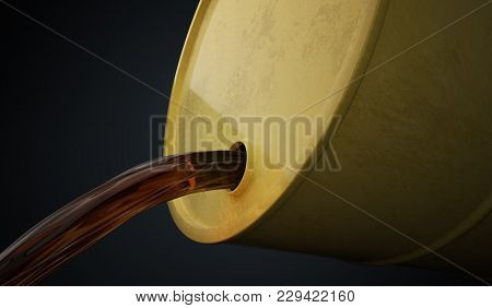 Petroleum Or Oil Is Pouring Out From Yellow Barrel. 3d Rendered Illustration.