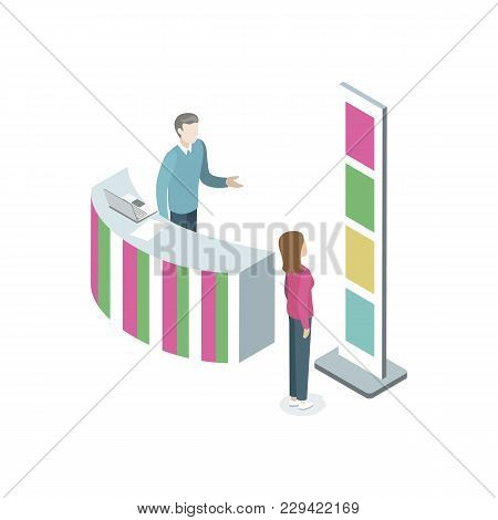 Information Stand With Manager Isometric 3d Element. Reception Counter Desk In Business Center Vecto