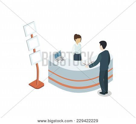 Office Reception Hall Isometric 3d Element. Information And Exhibition Ad Stand With Manager In Busi
