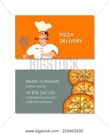 Italian Pizzeria Business Card With Chef Character. Happy Whiskered Man In Chef Uniform With Shovel