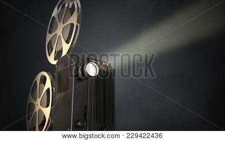 Retro Movie Projector On Dark Background. 3d Rendered Illustration.