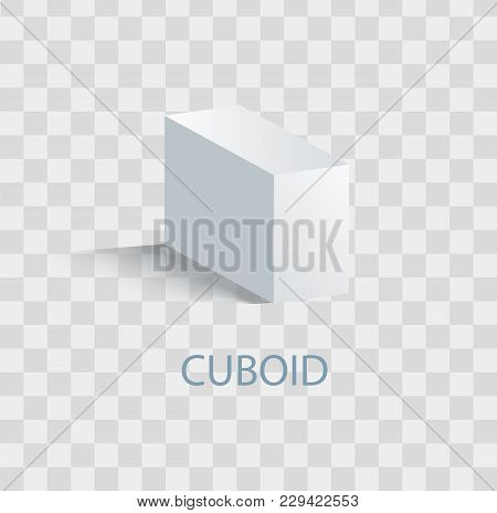 Cuboid White Geometric Figure That Casts Shade. Three-dimensional Shape Of White Color. Parallelepip