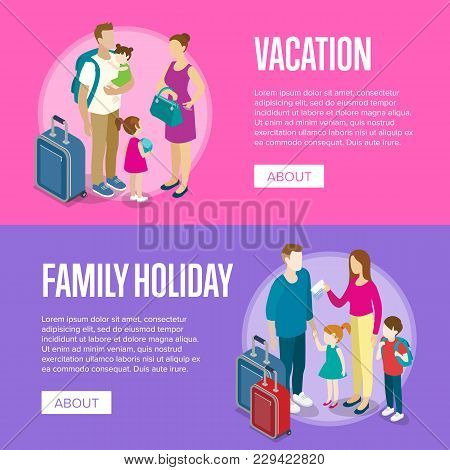 Travelling People Horizontal Flyers. Young Tourist Family With Small Children And Baggage. Time To T