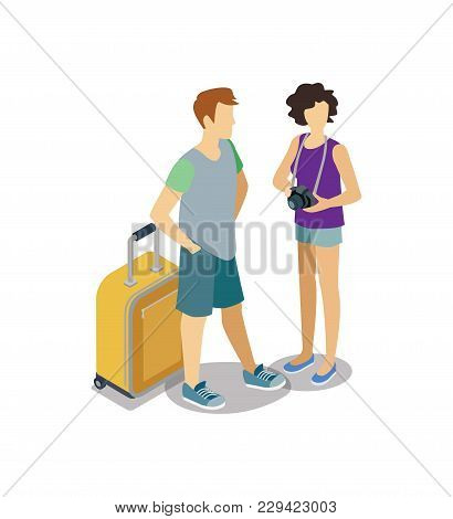 Traveling Young Couple With Travel Bag And Camera. Summertime Vacation, Active Recreation, Hiking An