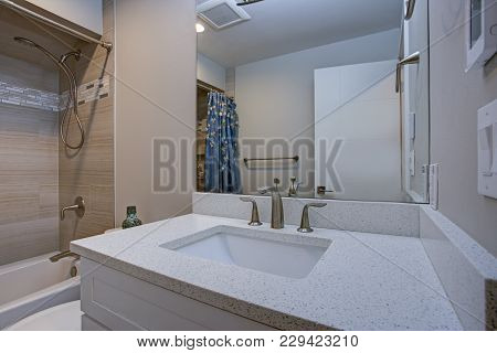 Elegant Bathroom With Marble Bathroom Floor.