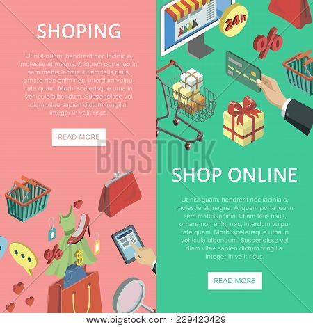 Supermarket Online Shopping Vertical Flyers With Isometric Mall Elements. Mobile Marketing And Distr