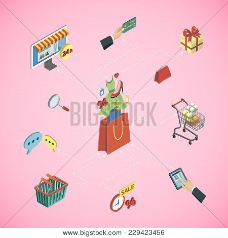 Online Shopping Isometric 3d Infographics With Digital Mobile Gadgets And Mall Elements. Mobile Mark