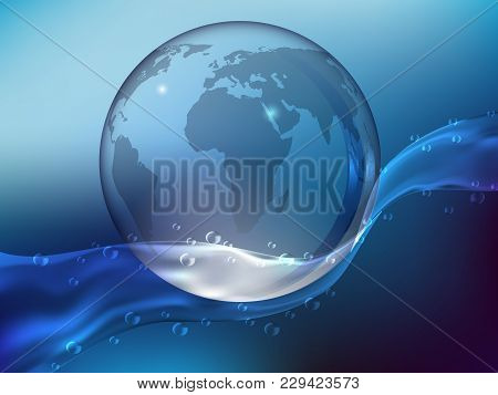 Abstract Blue Background, Splash Of Crystal Clear Water With Drops. Planet Earth Made Of Glass In Th