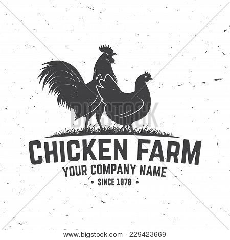 Chicken Farm Badge Or Label. Vector Illustration. Vintage Typography Design With Chickens Silhouette