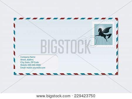 Air Envelope With Postage Stamp - Flying Pegasus - Isolated On White Background - Art Vector