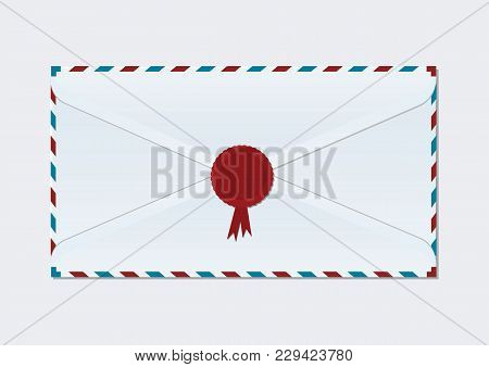 Mail Envelope Closed With Wax Seal - Isolated On White Background - Vector Art
