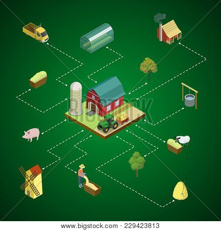 Natural Farming Isometric 3d Infographics. Agricultural Constructions And Machinery, Crop Harvesting