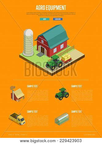 Agro Equipment Isometric Banner. Tractor Near Rural Farm Barn And Grain Silo. Agricultural Construct