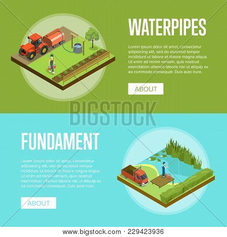 Natural Farming Isometric Horizontal Flyers. Man Fishing In Lake And Watering Plants. Agriculture In