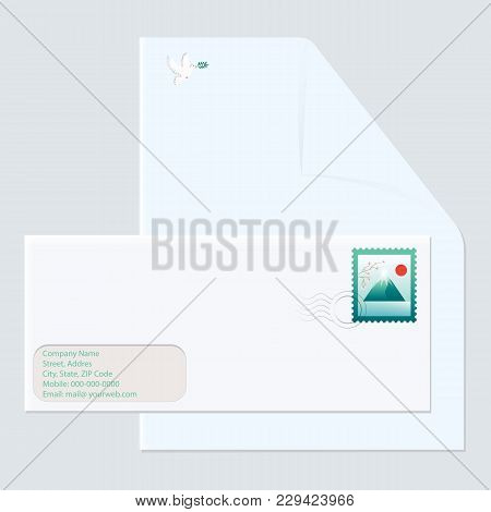 Postal Envelope With Mark Mountain Landscape - Letterhead With Emblem - Dove Of Peace - Isolated Lig