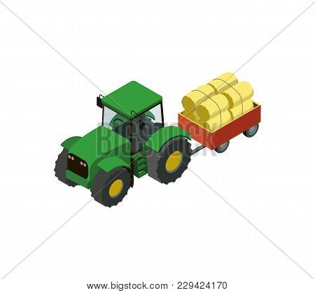 Wheeled Tractor With Trailer Full Of Hay Isometric 3d Element. Agricultural Machinery For Field Work