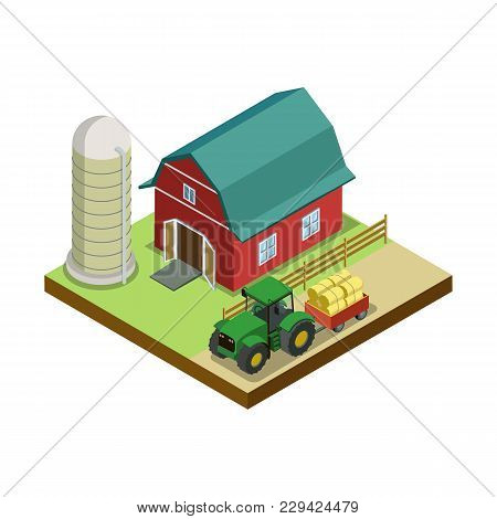 Hay Making In Storage Isometric 3d Element. Natural Farming, Traditional Agribusiness Isolated Vecto
