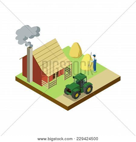 Hay Making On Field Isometric 3d Element. Natural Farming, Traditional Agribusiness Isolated Vector