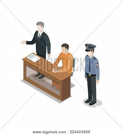 Defendant With Lawyer Isometric 3d Element. Law And Judgment Legal Justice Vector Illustration.