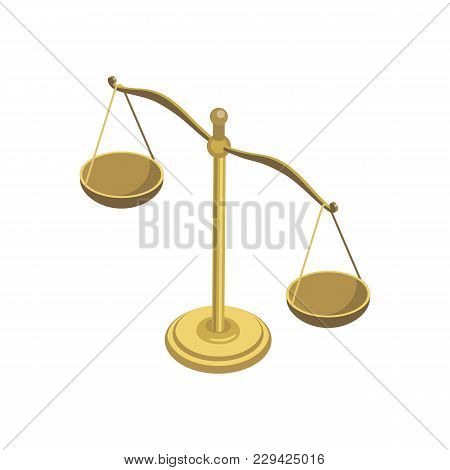 Scales Of Justice Isometric 3d Element. Law And Judgment Legal Justice Vector Illustration.