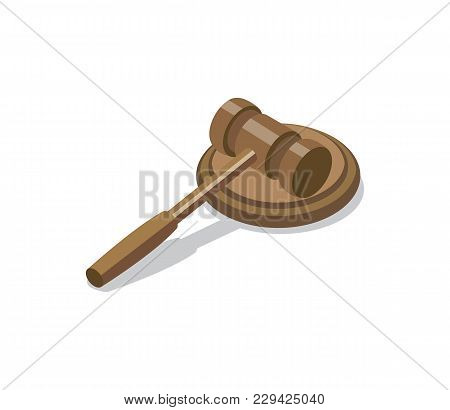 Wooden Judge Gavel And Soundboard Isometric 3d Element. Law And Judgment Legal Justice Vector Illust