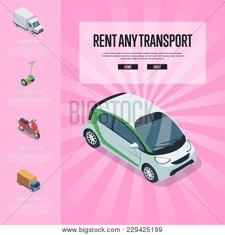 Rent Any Transport Banner With Compact Car, Freight Truck, Electric Scooter, Motorbike Isometric Ele