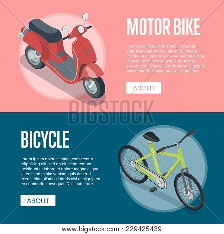 Personal Transport Isometric Horizontal Flyers With Motorbike And Bicycle. Compact And Eco Vehicles,