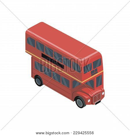 Red Double Decker Bus Isometric 3d Element. Motor Transportation Icon, Urban And Countryside Traffic
