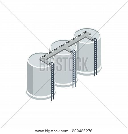 Industrial Storage Of Gasoline Isometric 3d Element. Heavy Industry Architecture, Engineering And Ma
