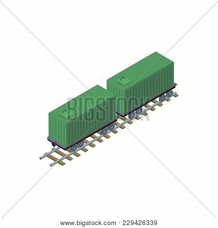 Rail Container Platform Isometric 3d Element. Logistics Container Shipping And Distribution, Commerc