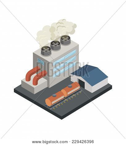 Power Station Isometric 3d Element. Heavy Industry Architecture, Engineering And Manufacturing, Envi