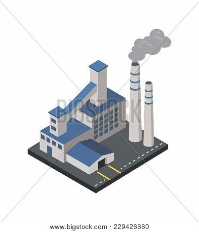 Factory With Smoke Pipes Isometric 3d Element. Heavy Industry Architecture, Engineering And Manufact