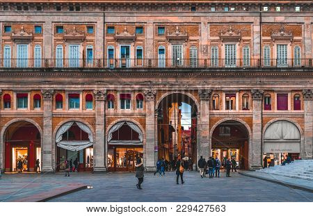 Bologna, Italy - 17 February, 2016: Unidentified People Walking In Piazza Maggiore, Bologna, Italy