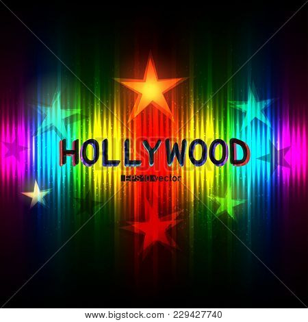 Hollywood Stars Show Way To Glory Success On Rainbow Striped Background. Cinematography Entertainmen