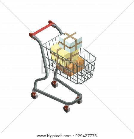 Shopping Trolley Cart With Packing Goods Isometric 3d Icon. Supermarket Shopping Symbol, Retail And
