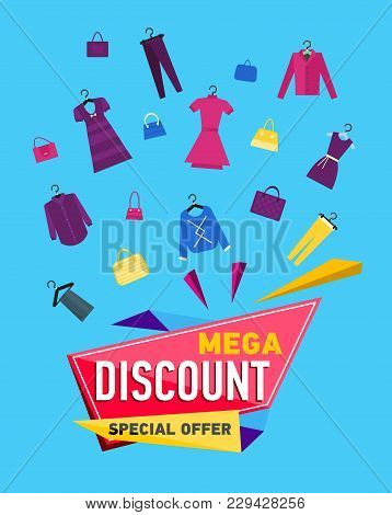 Mega Discount Poster With Various Goods On Blue Background. Special Season Offer, Retail Marketing P