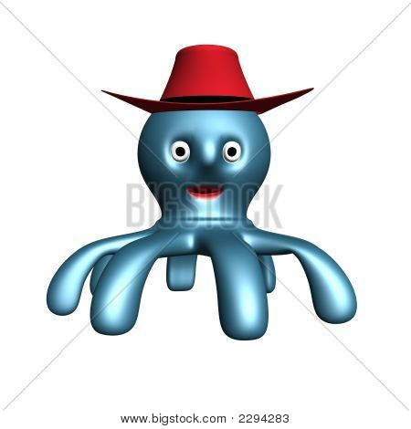 3D Render Of The Octopus With Cowboy Hat