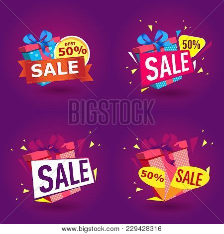 Holiday Sale Stickers In Trendy Style. Birthday Gift Box With Red Ribbon Banner. Retail Marketing El