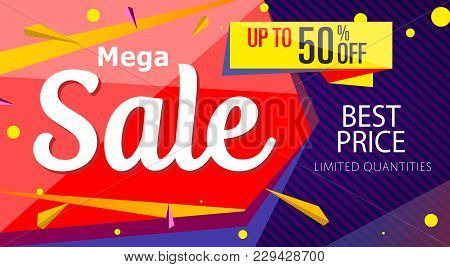 Mega Sale Banner Template In Trendy Style. Retail Marketing Information, New Advertising Campaign, H