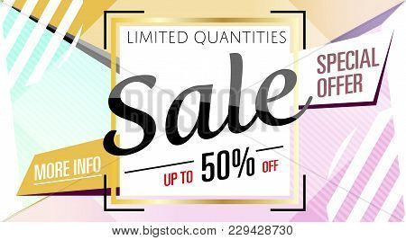 Super Sale Banner In Trendy Style. Special Offer Discount Poster, Up To 50 Off Message. Retail Marke