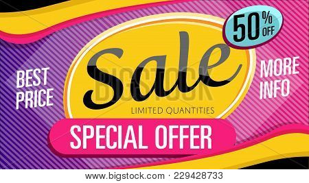 Special Offer Banner In Trendy Style. Best Price Proposition, Up To 50 Off Message. Retail Marketing